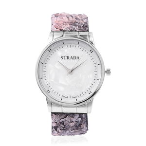 STRADA Japanese Movement Water Resistant Watch in Silvertone with Galilea Rose Quartz Chips Strap and Stainless Steel Back TGW 75.00 cts.