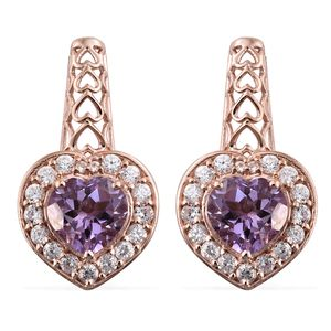 Rose De France Amethyst, Cambodian Zircon Vermeil RG Over Sterling Silver Earrings TGW 9.14 cts.