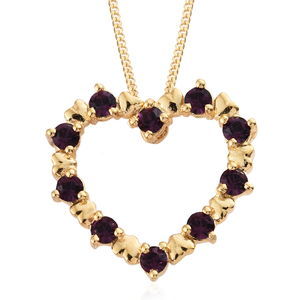 14K YG Over Sterling Silver Heart Pendant With ION Plated YG Stainless Steel Chain (20 in) Made with SWAROVSKI Amethyst Crystal