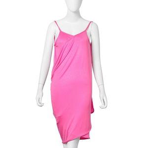 Pink 95% Viscose & 5% Spandex Beach Mini Wrap Slip Dress (One Size)