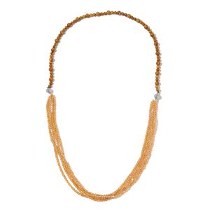 Wooden Jasper, Champagne Glass Silvertone Necklace (18 in) TGW 315.50 cts.