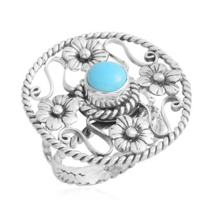 Bali Legacy Collection Arizona Sleeping Beauty Turquoise Sterling Silver Floral Ring (Size 8.0) TGW 0.73 cts.