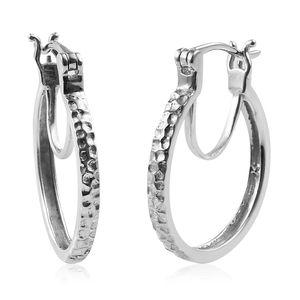 Platinum Over Sterling Silver Hoop Earrings