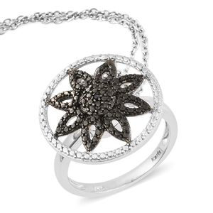 KARIS Collection - Black Diamond Accent (IR) Platinum Bond Brass Convertible Ring (Size 7) and Pendant on Stainless Steel Chain (20 in)