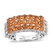 Salamanca Fire Opal, White Topaz Platinum Over Sterling Silver Ring (Size 7.0) TGW 2.95 cts.