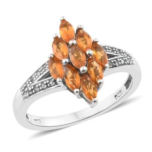 Salamanca Fire Opal, Cambodian Zircon Platinum Over Sterling Silver Split Ring (Size 7.0) TGW 0.95 cts.