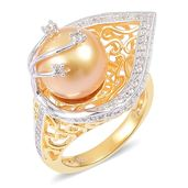 South Sea Golden Pearl (10-11 mm), White Zircon 14K YG and Platinum Over Sterling Silver Leaf Ring (Size 7.0) TGW 0.50 cts.