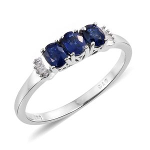 Ceylon Blue Sapphire, Diamond Platinum Over Sterling Silver Ring (Size 6.0) TDiaWt 0.05 cts, TGW 0.97 cts.