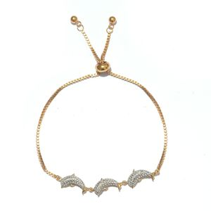 Diamond 14K YG and Platinum Over Sterling Silver Dolphin Bolo Bracelet (Adjustable) TDiaWt 0.06 cts, TGW 0.06 cts.