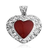 Bali Legacy Collection Sponge Coral Sterling Silver Openwork Heart Pendant without Chain