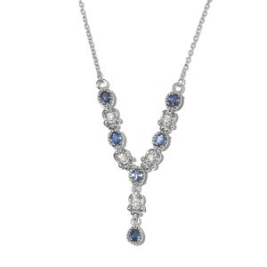 Ceylon Blue Sapphire, Cambodian Zircon Platinum Over Sterling Silver Necklace (18 in) TGW 1.60 cts.