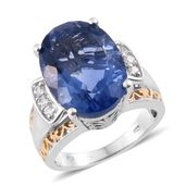 Color Change Fluorite, Cambodian Zircon 14K YG and Platinum Over Sterling Silver Ring (Size 6.0) TGW 15.20 cts.