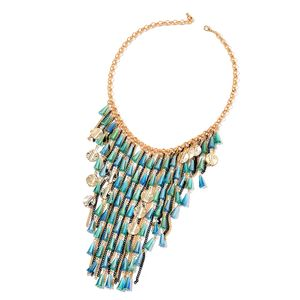 Blue and Teal Simulated Crystal Dualtone & Iron Fringe Necklace (22 in)