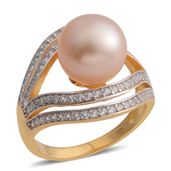 South Sea Golden Pearl (11-12 mm), White Zircon 14K YG and Platinum Over Sterling Silver Ring (Size 6.0) TGW 1.26 cts.