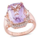 Rose De France Amethyst, White Topaz 14K RG Over Sterling Silver Halo Ring (Size 10.0) TGW 12.70 cts.