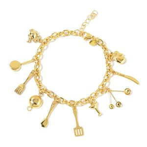 Kitchen Inspiration Multi-Charm Bracelet in ION Plated YG Stainless Steel (8.00 In)