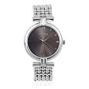 STRADA Japanese Movement Watch in Silvertone with Beaded Band and Stainless Steel Back