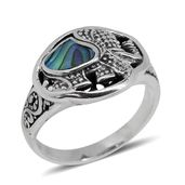 Bali Legacy Collection Abalone Shell Sterling Silver Elephant Ring (Size 5.0)