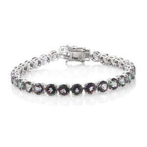 One Time Only Northern Lights Mystic Topaz Platinum Over Sterling Silver Tennis Bracelet (7.50 In) TGW 32.40 cts.