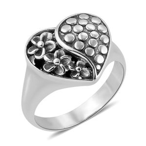 Bali Legacy Collection Sterling Silver Heart Ring (Size 8.0)