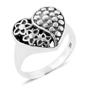 Bali Legacy Collection Sterling Silver Floral Heart Ring (Size 5.0)