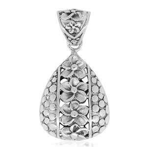 Bali Legacy Collection Sterling Silver Floral Pear Pendant without Chain (4 g)
