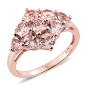 Marropino Morganite 14K RG Over Sterling Silver Ring (Size 10.0) TGW 3.00 cts.