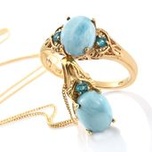 Larimar, Malgache Neon Apatite Vermeil YG Over Sterling Silver Ring (Size 6) and Pendant With Chain (20 in) TGW 6.36 cts.