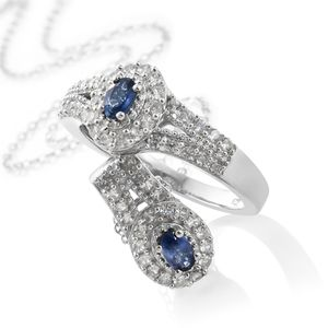 Ceylon Blue Sapphire, Cambodian Zircon Platinum Over Sterling Silver Ring (Size 10) and Pendant With Chain (20 in) TGW 1.70 cts.