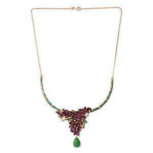 GP Burmese Green Jade, Multi Gemstone 14K YG Over Sterling Silver Necklace (18 in) TGW 20.08 cts.