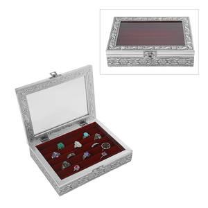 Purple Glass in Velvet lining Aluminum Artware MDF Jewellry box (6x8 in)