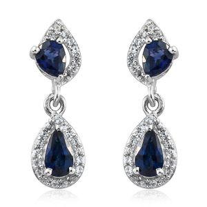 Ceylon Blue Sapphire, Cambodian Zircon Platinum Over Sterling Silver Earrings TGW 1.20 cts.