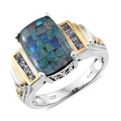 Australian Mosaic Opal, Tanzanite 14K YG and Platinum Over Sterling Silver Ring (Size 5.0) TGW 5.00 cts.
