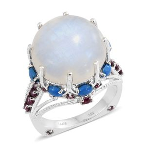 Rainbow Moonstone, Multi Gemstone Platinum Over Sterling Silver Royal Euro Ring (Size 7.0) TGW 28.63 cts.