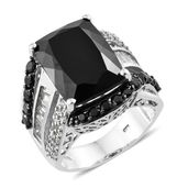 Buyer's Picks Deal Australian Black Tourmaline, Thai Black Spinel, White Topaz Platinum Over Sterling Silver Ring (Size 9.0) TGW 20.78 cts.