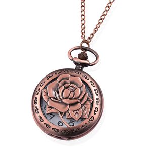 STRADA Japanese Movement Water Resistant Rosetone Peony Pocket Watch With Chain (31 in)