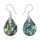 Bali Legacy Collection Abalone Shell Sterling Silver Tear Drop Earrings