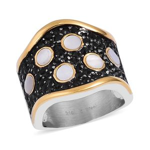 White Mother of Pearl, Black Austrian Crystal Black Oxidized, ION Plated YG and Stainless Steel Ring (Size 8.0) TGW 0.88 cts.