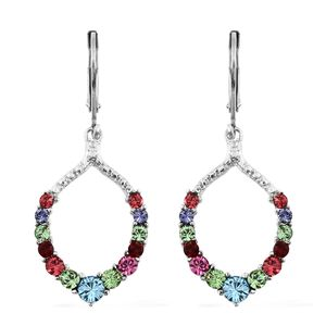 Stainless Steel Earrings Made with Swarovski Multi Color Crystal TGW 1.18 cts.