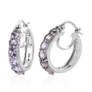 Rose De France Amethyst Stainless Steel Hoop Earrings TGW 2.60 cts.