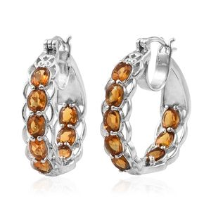 Santa Ana Madeira Citrine Platinum Over Sterling Silver Inside Out Hoop Earrings TGW 5.16 cts.