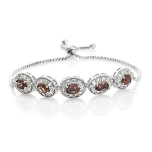 Mocha Scapolite, White Topaz Platinum Over Sterling Silver Magic Ball Bracelet (Adjustable) TGW 4.30 cts.