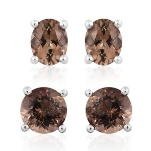 Set of 2 Mocha Scapolite Platinum Over Sterling Silver Stud Earrings TGW 1.40 cts.