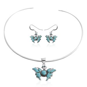 Santa Fe Style Kingman Turquoise Sterling Silver Butterfly Earrings and Pendant With Necklace (13 in) TGW 12.00 cts.