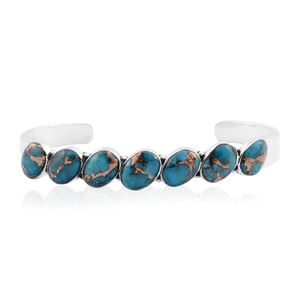 Santa Fe Style Mojave Turquoise Sterling Silver Cuff (7 in) TGW 14.00 cts.