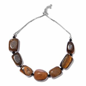 South African Tigers Eye, Thai Black Spinel Beads Platinum Over Sterling Silver Bolo Bracelet (Adjustable) (7.50 In) TGW 142.80 cts.