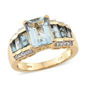 Espirito Santo Aquamarine, London Blue Topaz, Cambodian Zircon Vermeil YG Over Sterling Silver Pedestal Ring (Size 7.0) TGW 5.01 cts.