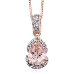 Marropino Morganite, Cambodian Zircon Vermeil RG Over Sterling Silver Drop Pendant With Chain (20 in) TGW 1.09 cts.