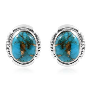 Santa Fe Style Mojave Blue Turquoise Sterling Silver Stud Earrings TGW 6.00 cts.