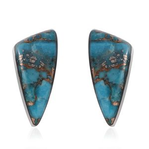 Santa Fe Style Mojave Blue Turquoise Sterling Silver Earrings TGW 6.00 cts.